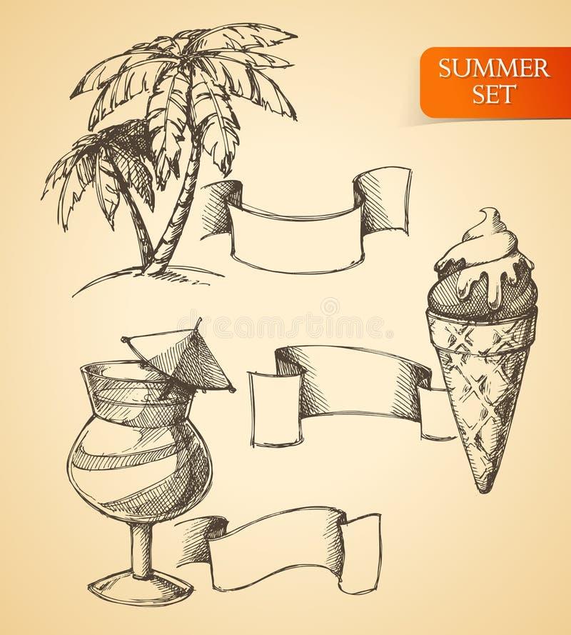Sistema del bosquejo del verano ilustración del vector