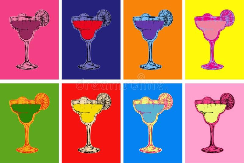 Sistema del bosquejo dibujado mano coloreado Margarita Cocktail Drinks Vector Illustration ilustración del vector