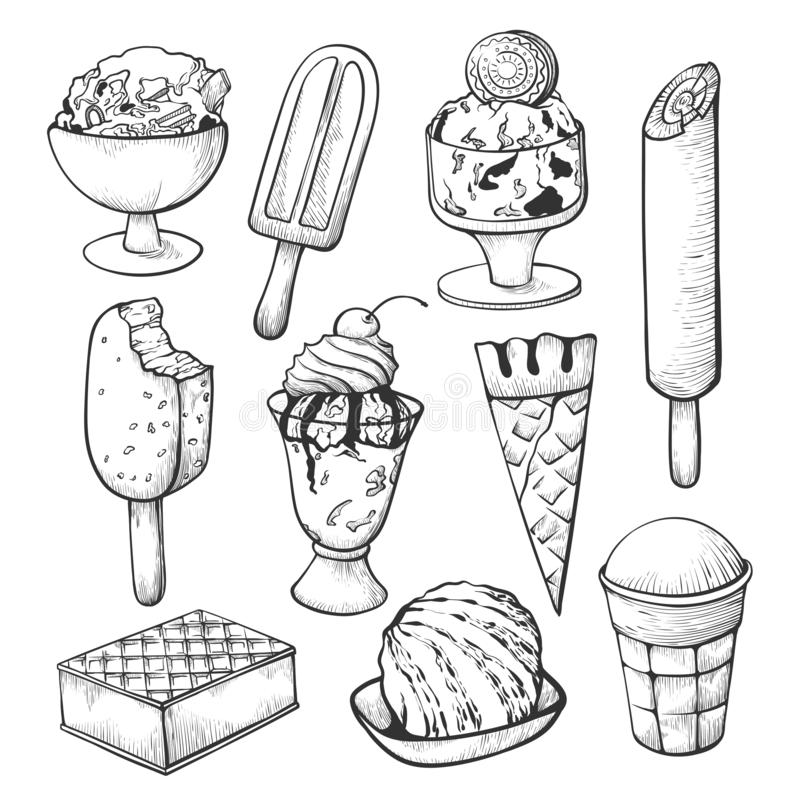 Sistema del bosquejo del helado para la decoración de la tienda o del café stock de ilustración