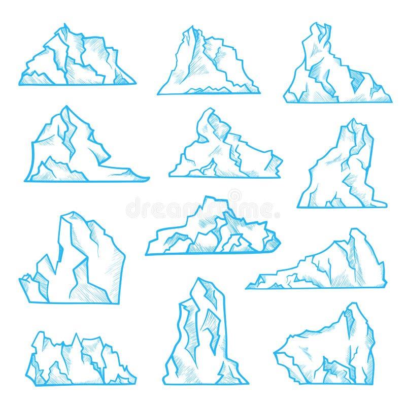 Sistema del bosquejo del iceberg, clima del norte y ambiente stock de ilustración