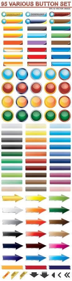 Sistema del botón de 95 web ilustración del vector