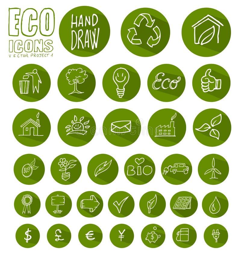 Sistema del botón del icono de Eco ilustración del vector