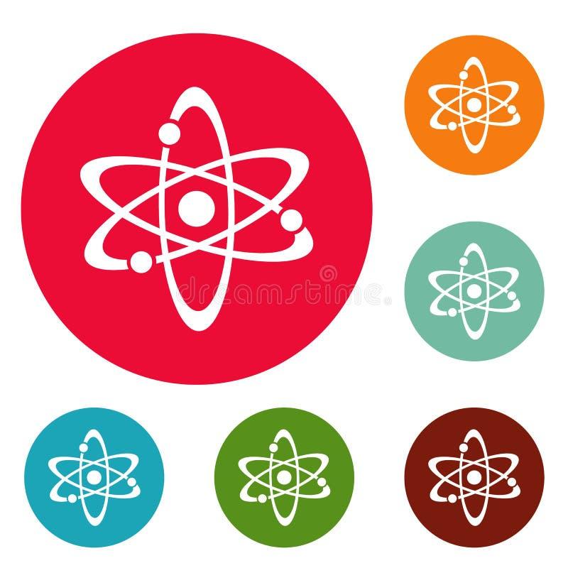 Sistema del círculo de los iconos del átomo stock de ilustración