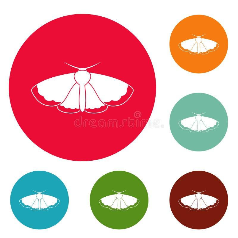 Sistema del círculo de los iconos de la polilla stock de ilustración