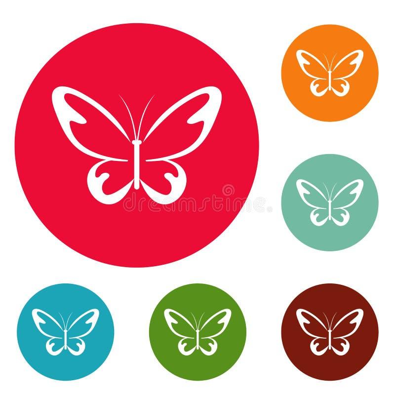 Sistema del círculo de los iconos de la polilla del vuelo stock de ilustración