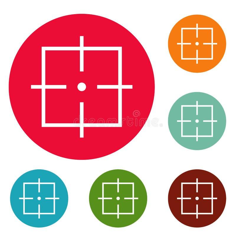 Sistema del círculo de los iconos del propósito stock de ilustración