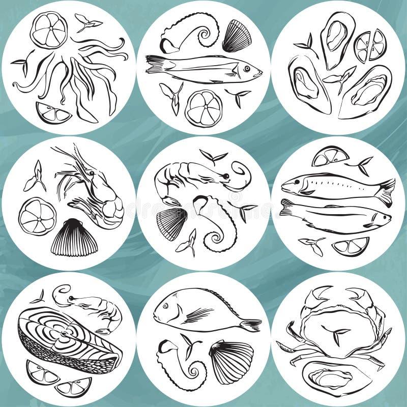 Sistema del círculo de los mariscos Placas de los animales de la vida marina Ilustración drenada mano del vector Práctico de cost stock de ilustración