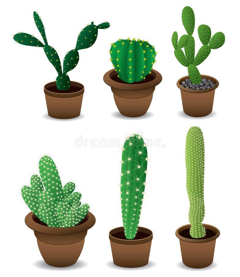 Sistema del cactus stock de ilustración