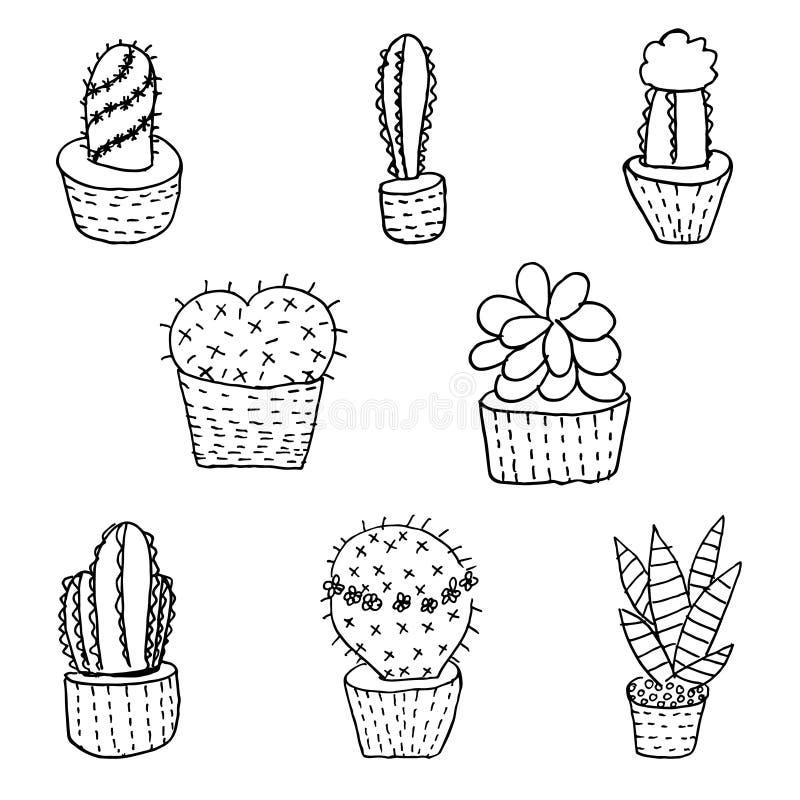 Sistema del cactus dibujado mano y suculento, ejemplo del bosquejo de la tinta stock de ilustración