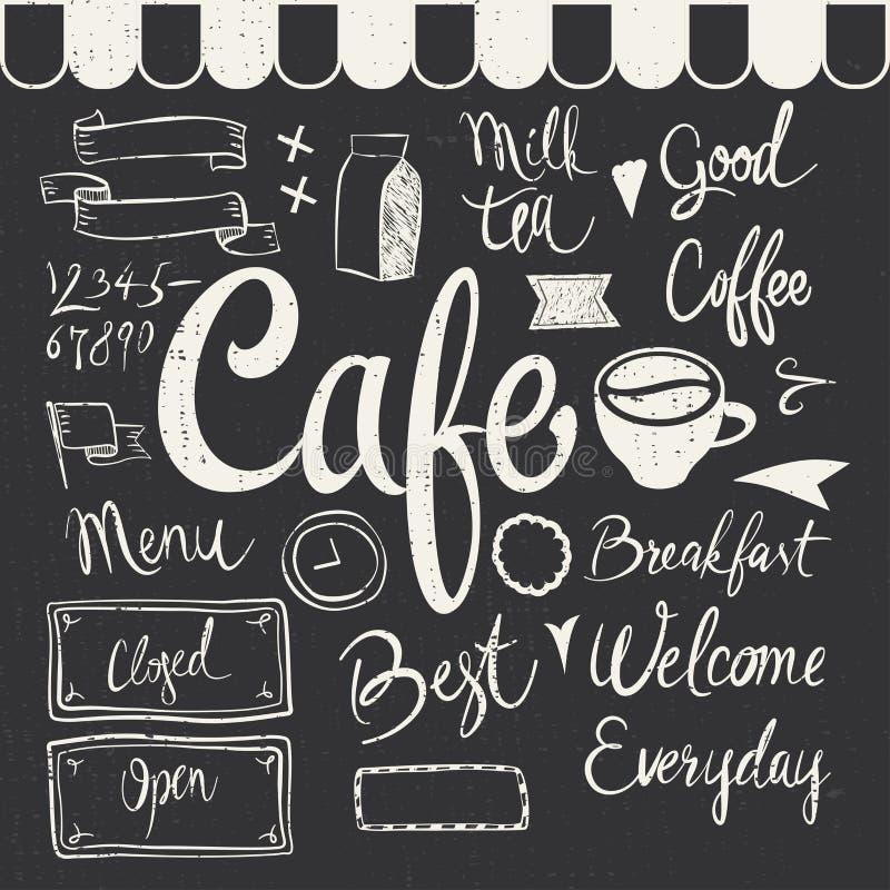 Sistema del café stock de ilustración