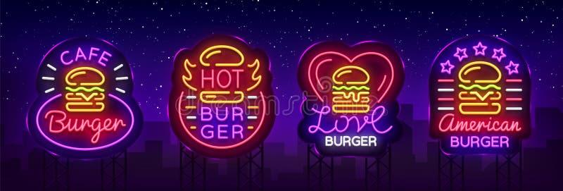 Sistema del café de la hamburguesa de señales de neón Logotipos en el estilo de neón, bandera, plantilla del diseño, noche de la  ilustración del vector