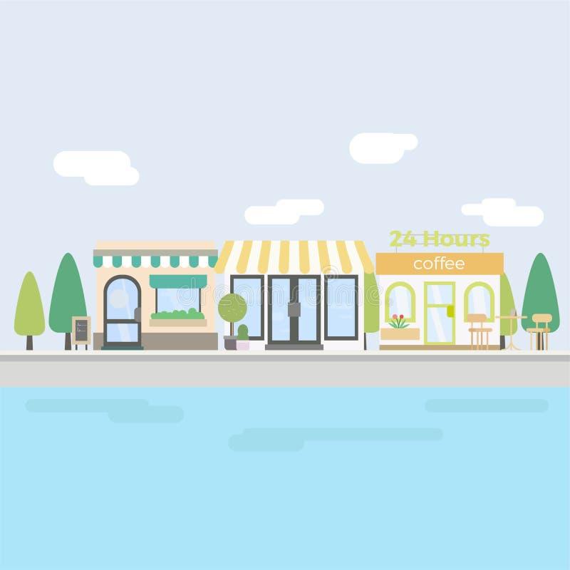 Sistema del café y de la tienda imagen de archivo libre de regalías