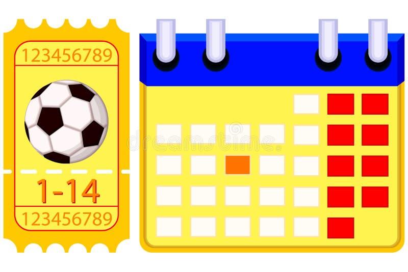 Sistema del calendario del boleto del fútbol del fútbol de Colorfull stock de ilustración