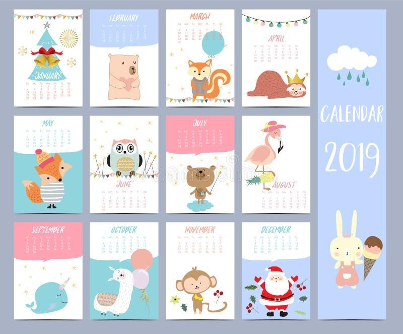 Sistema 2019 del calendario del garabato con Santa Claus; árbol de navidad, oso libre illustration