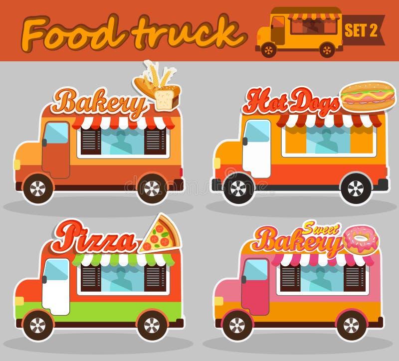 Sistema del camión de la comida de los ejemplos del vector ilustración del vector