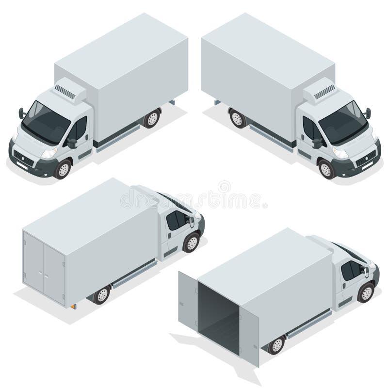 Sistema del camión de los iconos para el cargo del transporte Van para el carro del cargo Coche de entrega Ejemplo isométrico del libre illustration