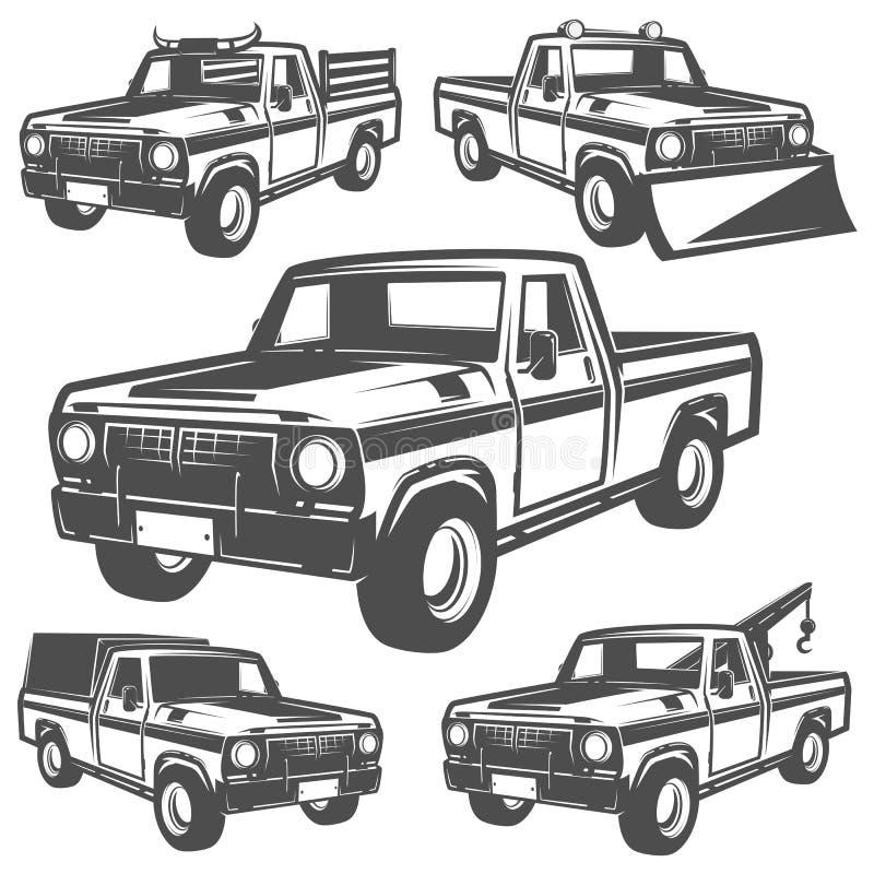 Sistema del camión y de la recogida para los emlems y el logotipo ilustración del vector