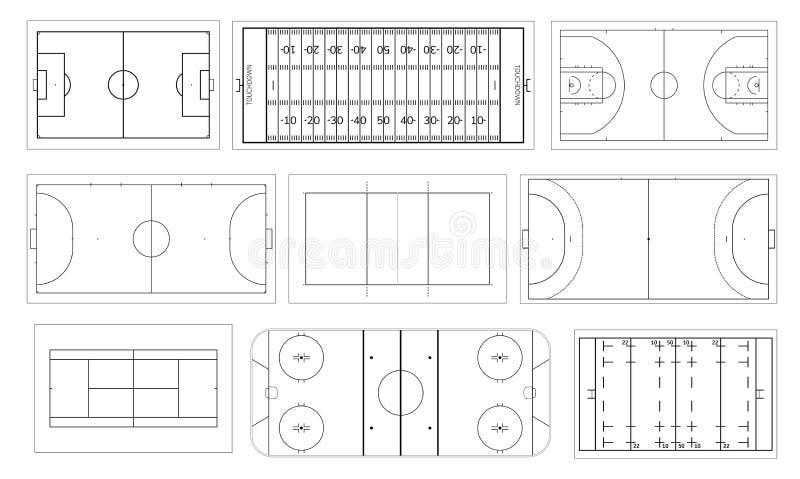 Sistema del campo de deporte Balonmano y cancha de básquet, fútbol o campo de fútbol, pista de hockey sobre hielo Voleibol, futsa stock de ilustración
