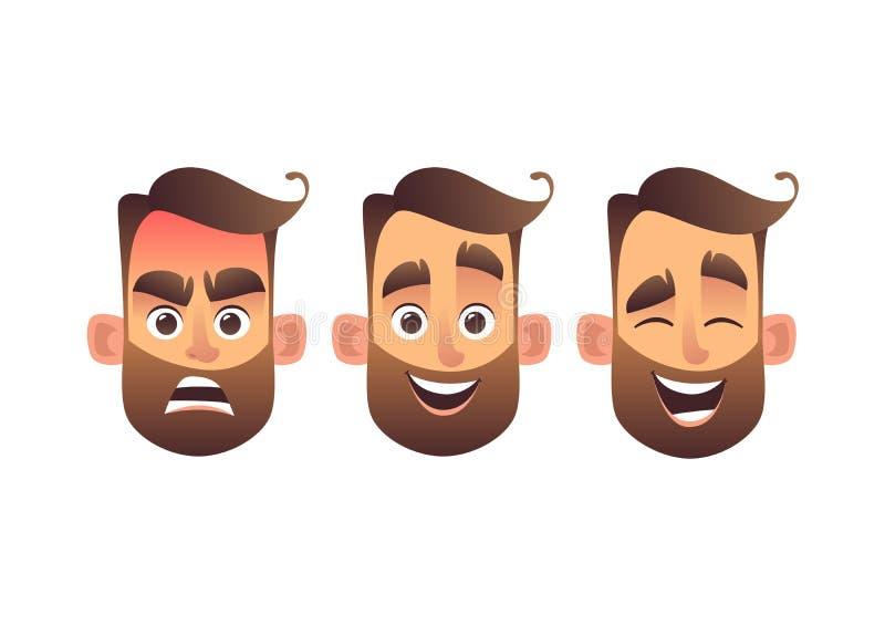 Sistema del carácter barbudo del emoji del hombre de las emociones faciales masculinas con diversas expresiones libre illustration