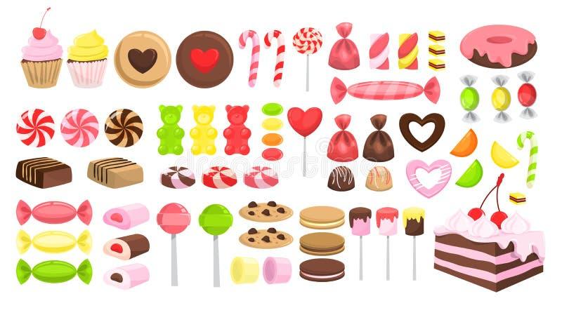 Sistema del caramelo Colecci?n de postre dulce Lollipop stock de ilustración