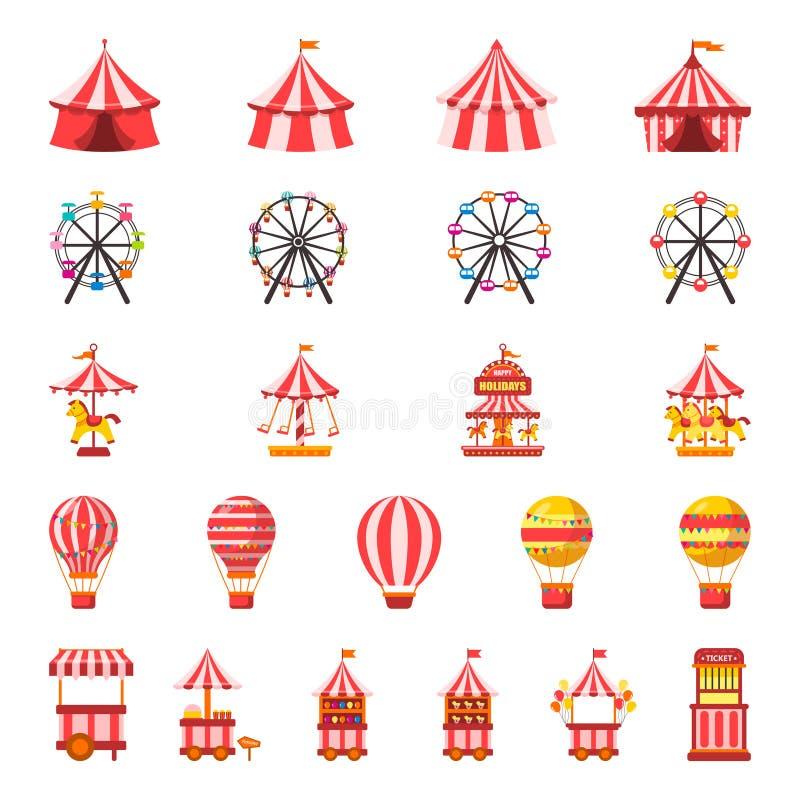 Sistema del carnaval Parque de atracciones Ejemplo del vector en fondo aislado blanco ilustración del vector