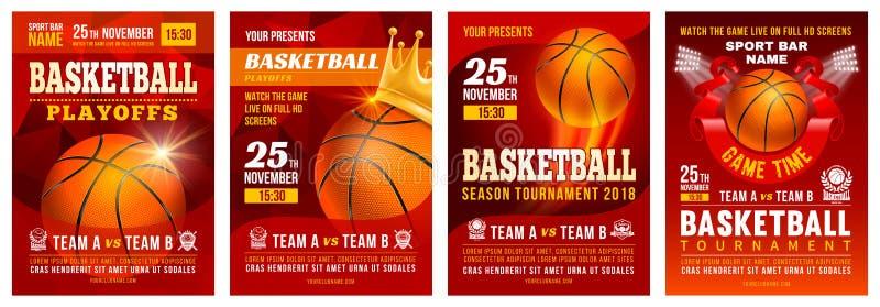 Sistema del cartel del baloncesto stock de ilustración