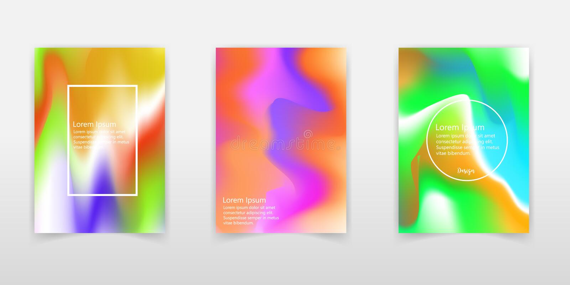 Sistema del cartel con el fondo vibrante de la pendiente del color Diseño moderno de moda Plantillas del vector para los carteles stock de ilustración