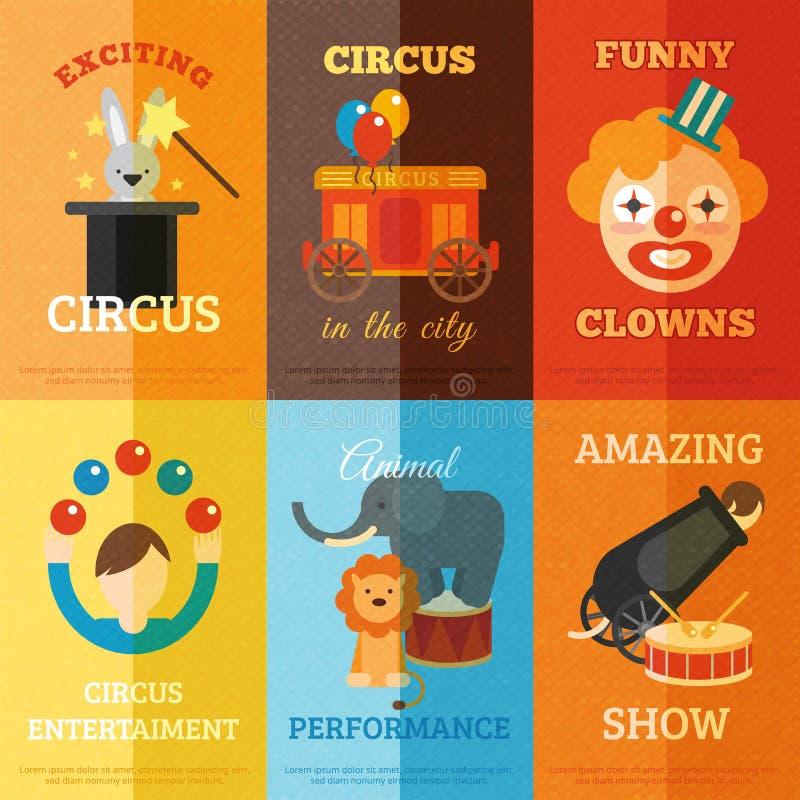 Sistema del cartel del circo ilustración del vector