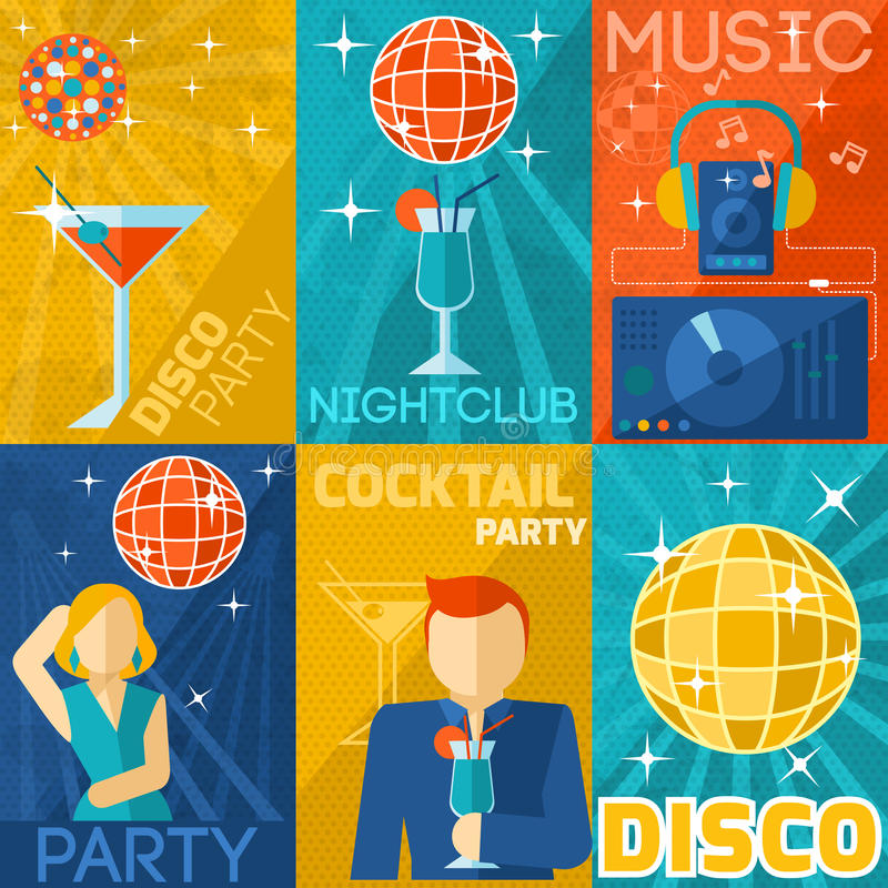 Sistema del cartel del club de noche libre illustration