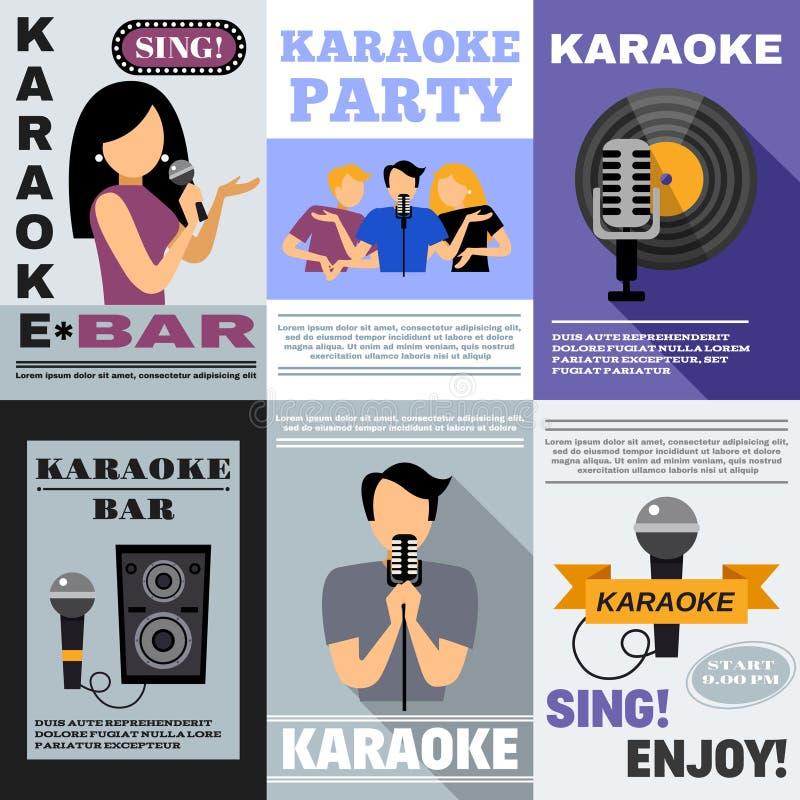 Sistema del cartel del Karaoke stock de ilustración