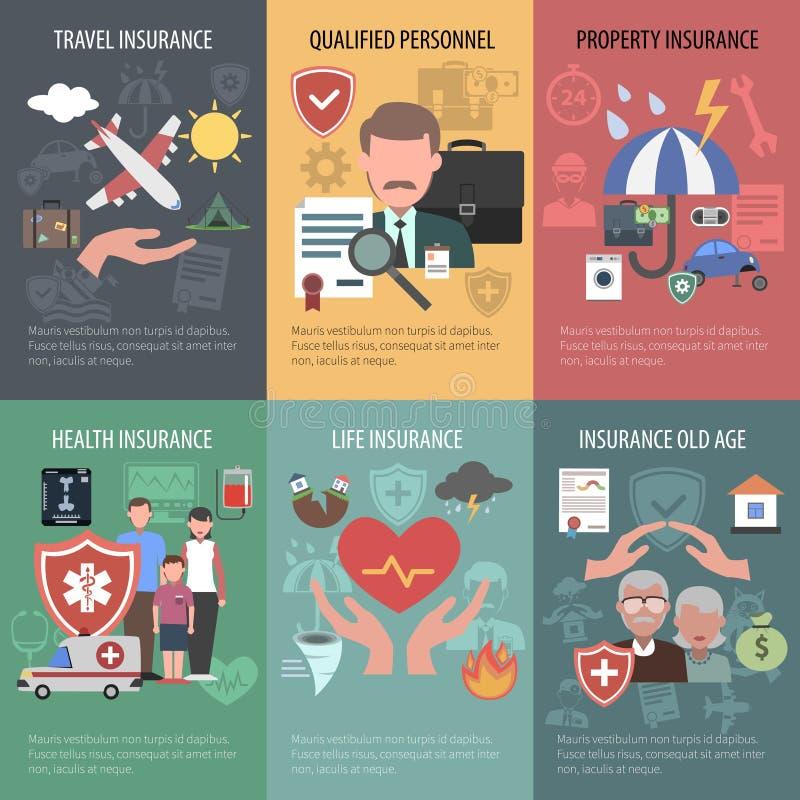 Sistema del cartel del seguro ilustración del vector