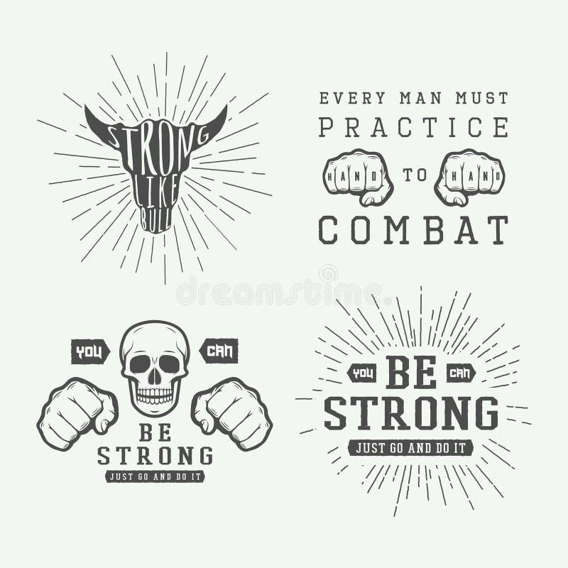 Sistema del cartel que lucha de motivación e inspirado del vintage libre illustration