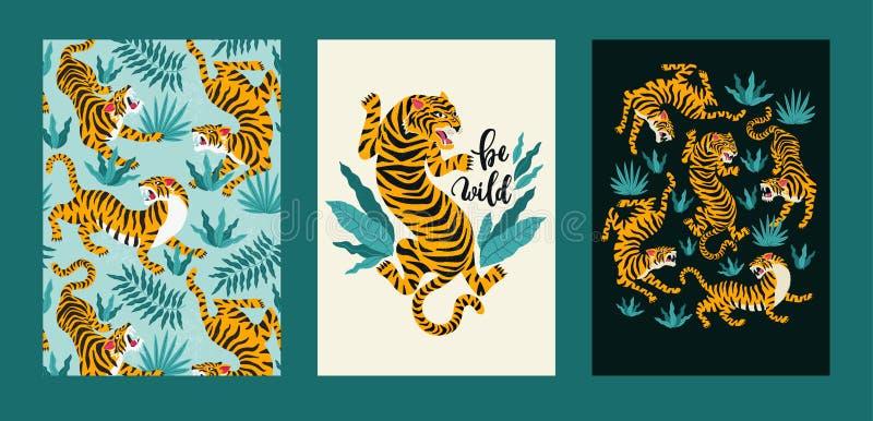Sistema del cartel del vector de tigres y de hojas tropicales Ejemplo de moda stock de ilustración
