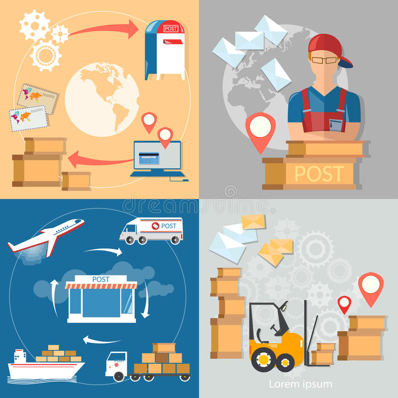 Sistema del cartero del servicio de la oficina de correos de la entrega postal stock de ilustración