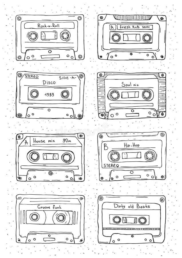 Sistema del casete plástico, cinta de audio con diversa música Ilustración retra drenada mano del vector stock de ilustración