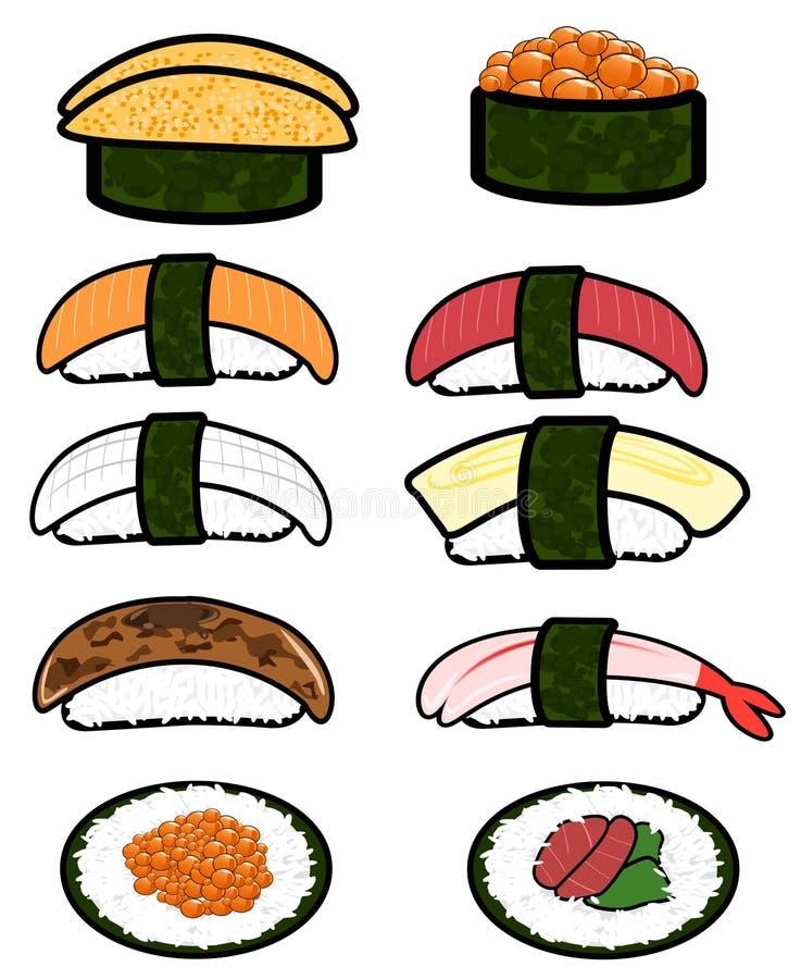 Sistema del cellection del icono del sushi libre illustration