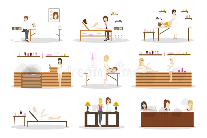 Sistema del centro del balneario stock de ilustración