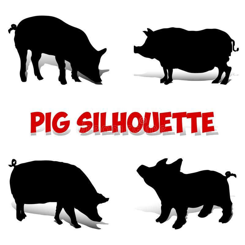 Sistema del cerdo Silueta negra en el fondo blanco, libre illustration