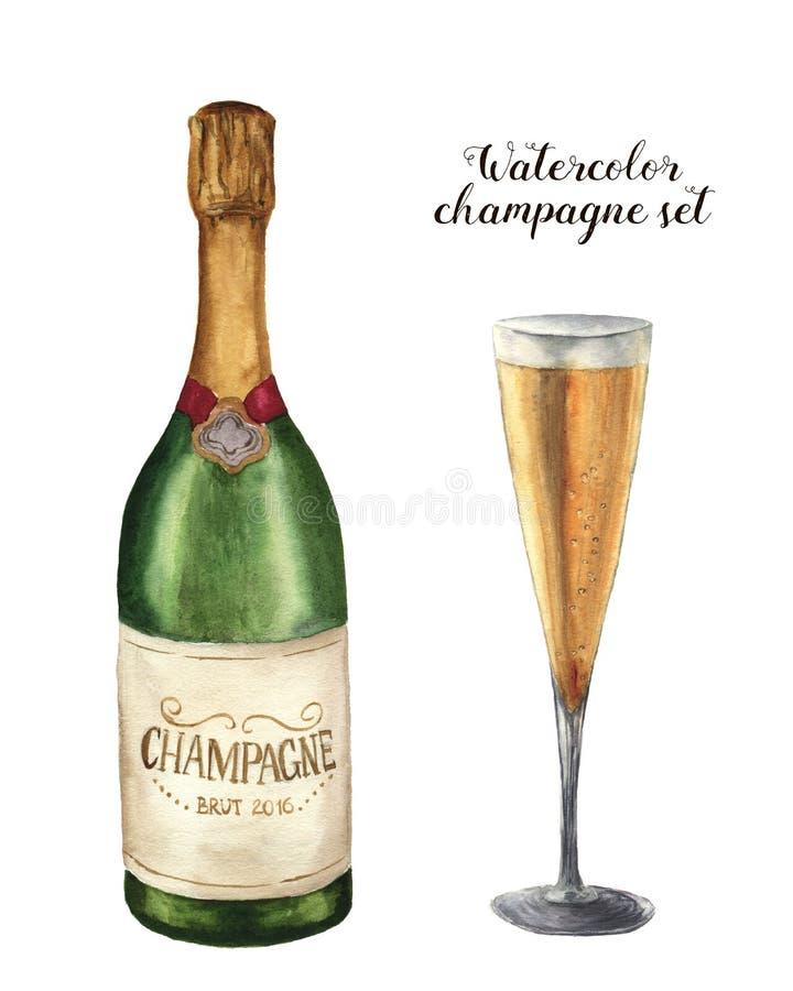 Sistema del champán de la acuarela Botella de vino espumoso con el vidrio aislado en el fondo blanco Ejemplo del partido para imagen de archivo