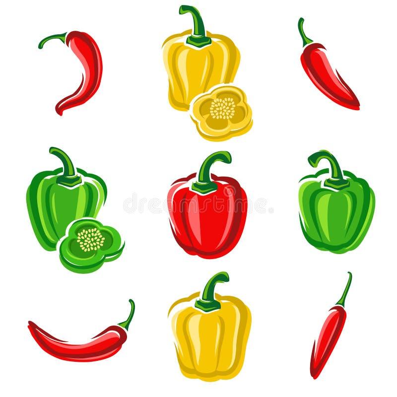Sistema del chile y de la pimienta Vector libre illustration