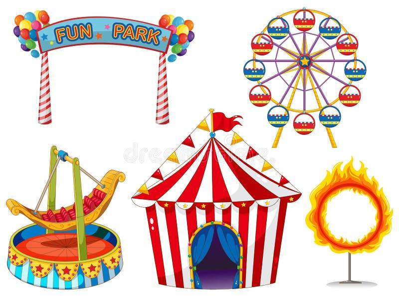 Sistema del circo con paseos y la tienda stock de ilustración