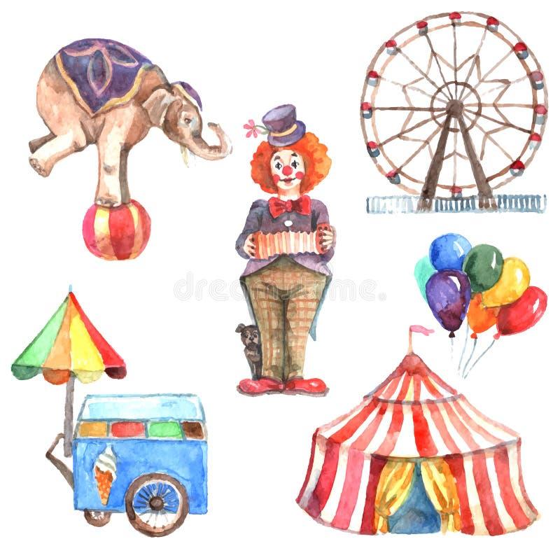 Sistema del circo de la acuarela stock de ilustración
