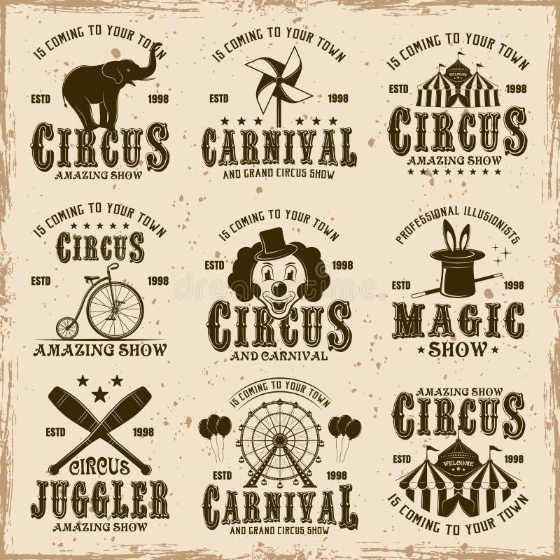 Sistema del circo de los emblemas del marrón del vector, etiquetas, insignias libre illustration