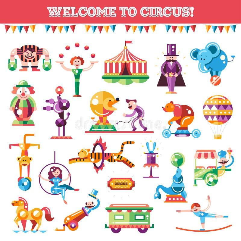 Sistema del circo plano moderno y del carnaval del diseño stock de ilustración