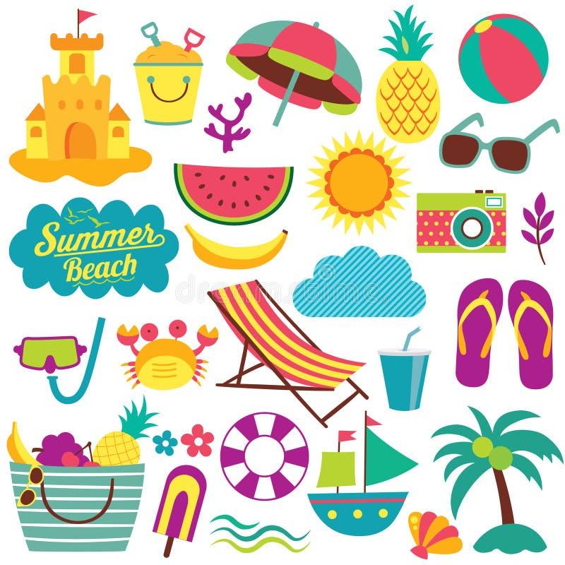 Sistema del clip art de los elementos del día de verano stock de ilustración