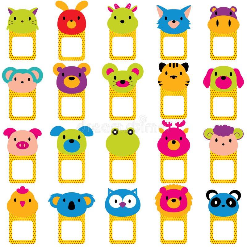 Sistema del clip art de los marcos de texto de las caras del animal libre illustration