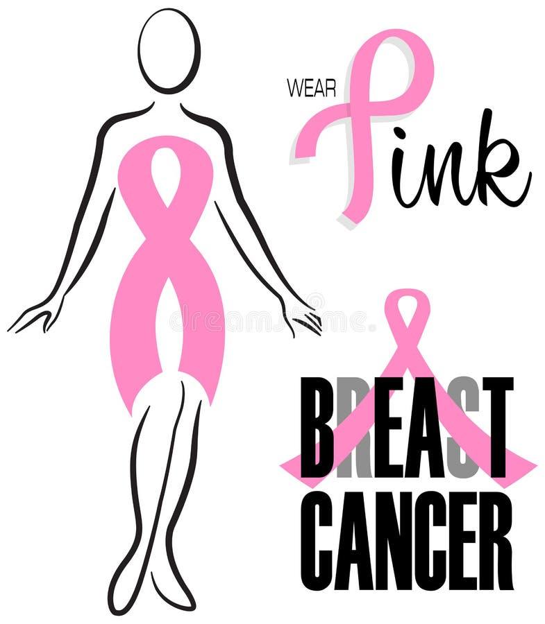 Sistema del clip de la cinta del rosa del cáncer de pecho stock de ilustración