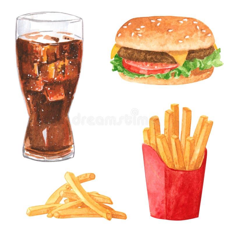 Sistema del clipart de la comida rápida, cola, hamburguesa, patatas fritas, watercolo exhausto de la mano stock de ilustración