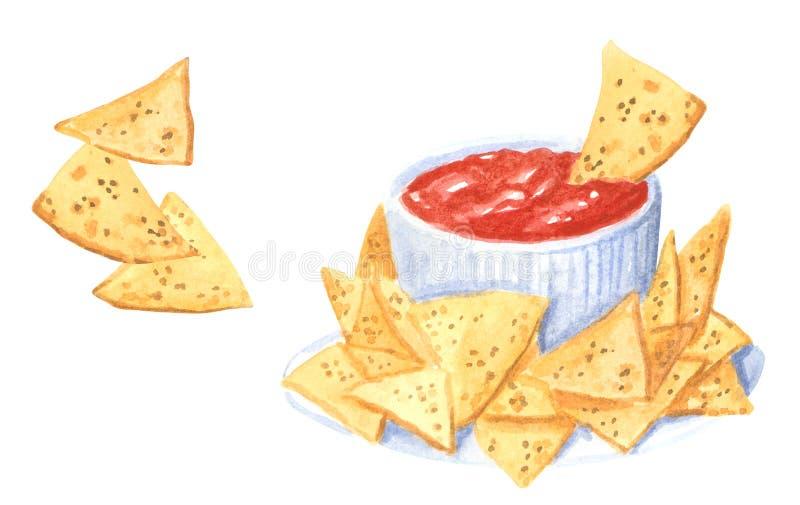 Sistema del clipart de la comida rápida, nachos y sause de la salsa de tomate, acuarela exhausta de la mano libre illustration