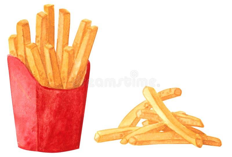 Sistema del clipart de la comida rápida, patatas fritas stock de ilustración